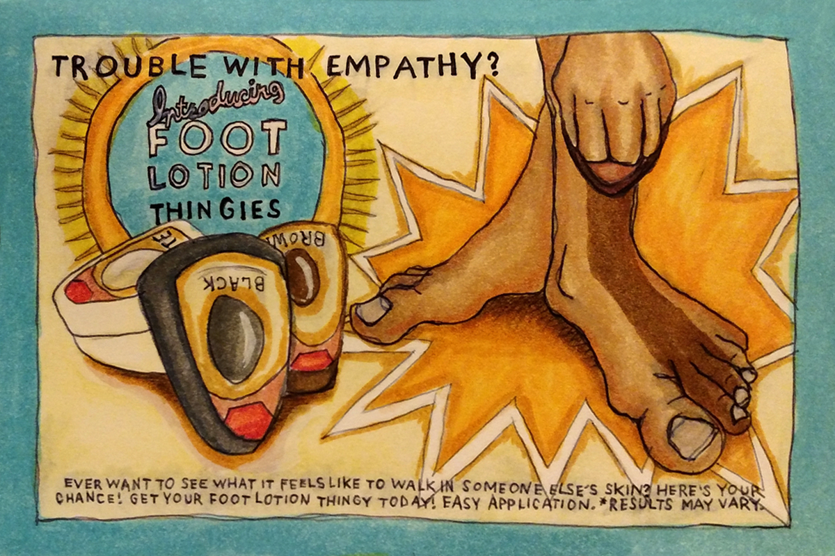 faux advertisement illustration for shoe polish