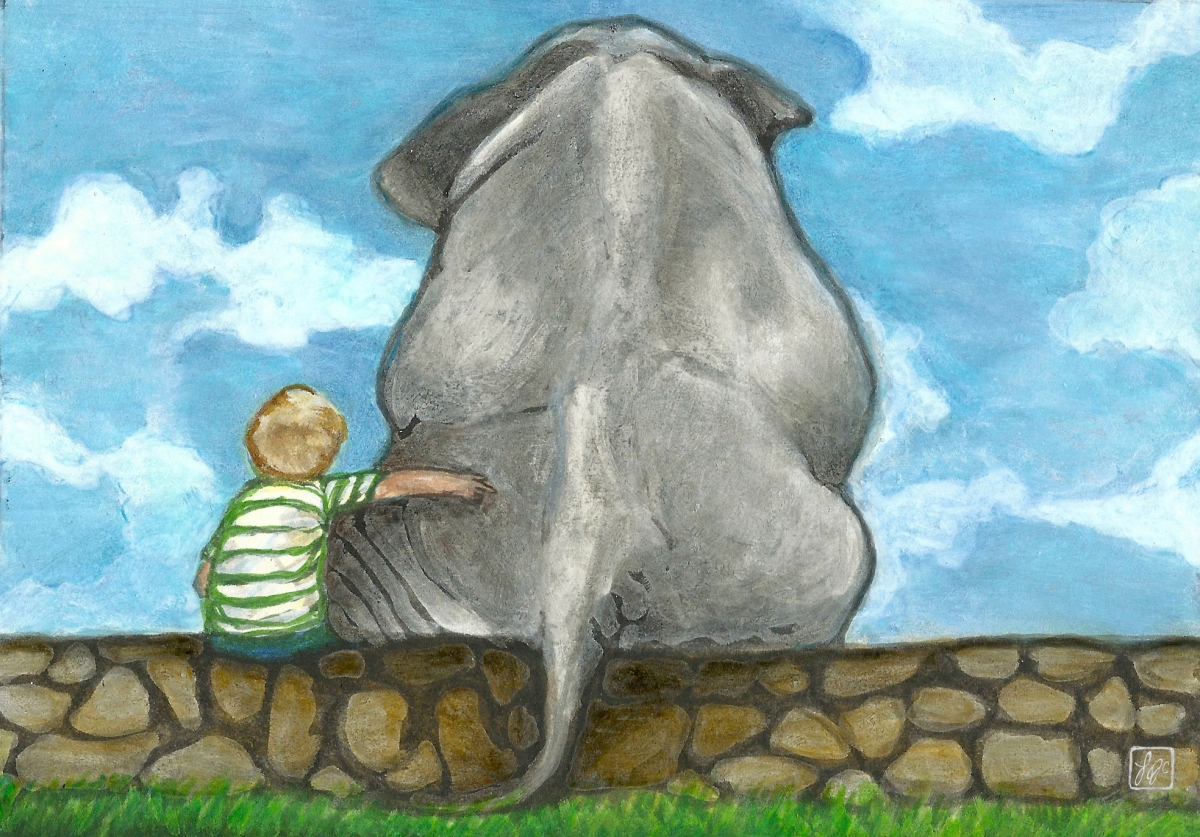 illustration of a boy sitting on a stone wall with his arm around an elephant