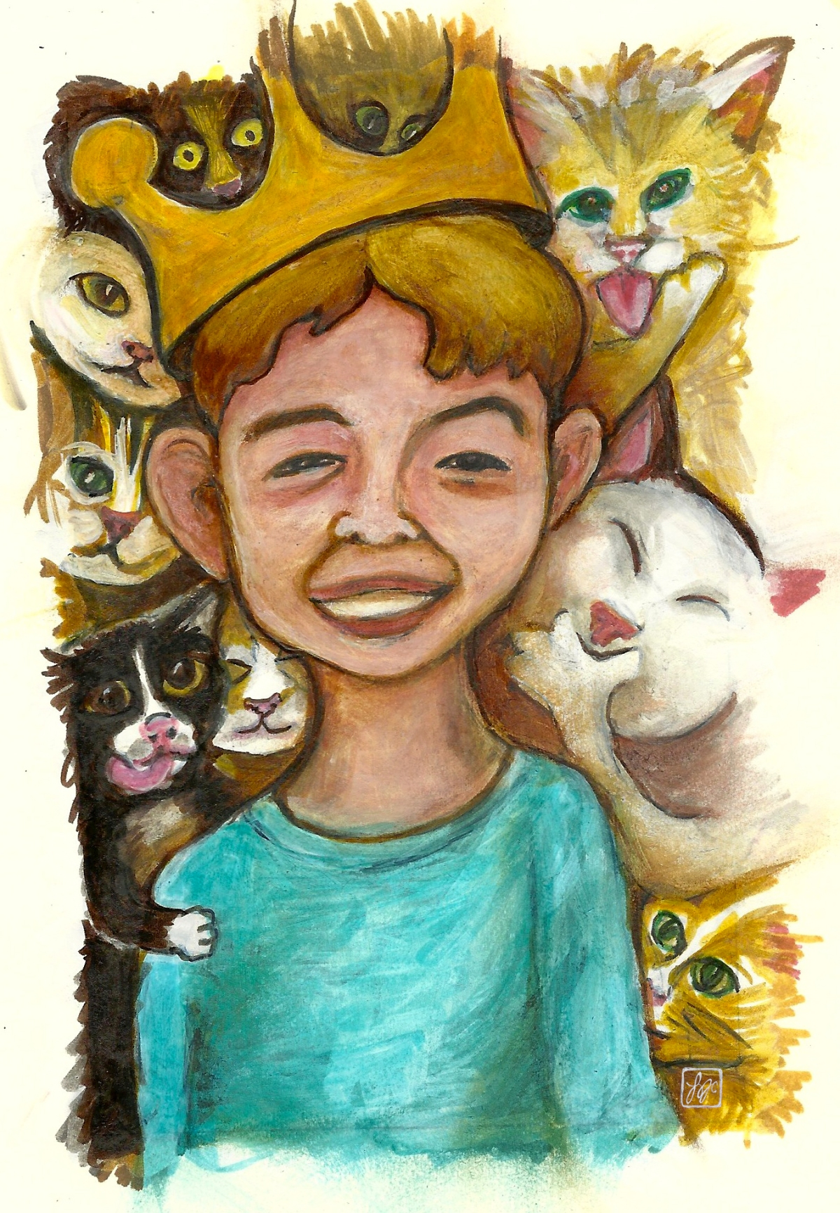 illustration of a boy wearing a crown, surrounded by cats