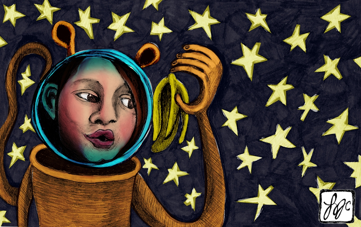 illustration of a girl in a space helmet with ears and a tail holding a banana peel
