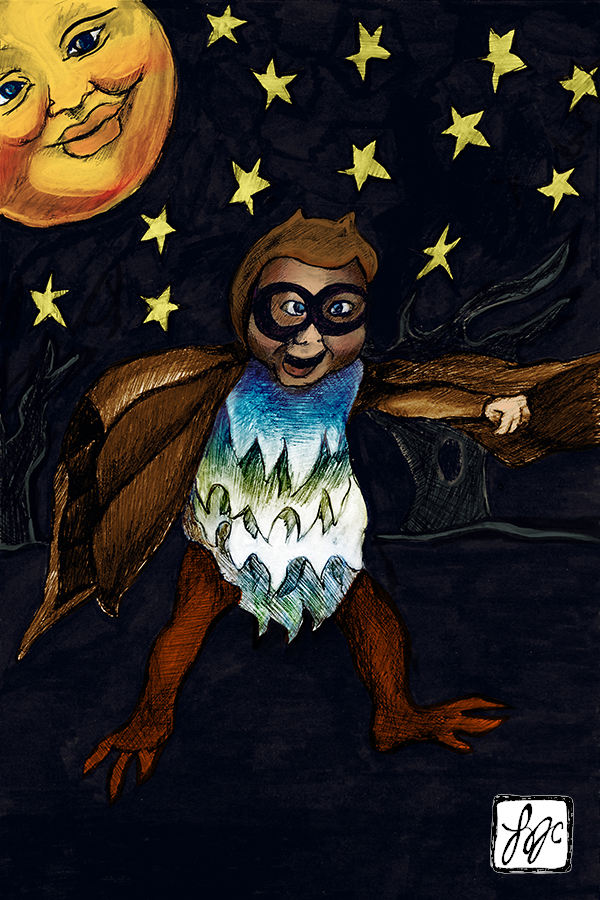 illustration of a baby in an owl suit and a moon with a face on it