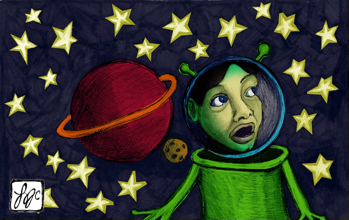 illustration of a green girl in a space helmet with antenna next to a red planet