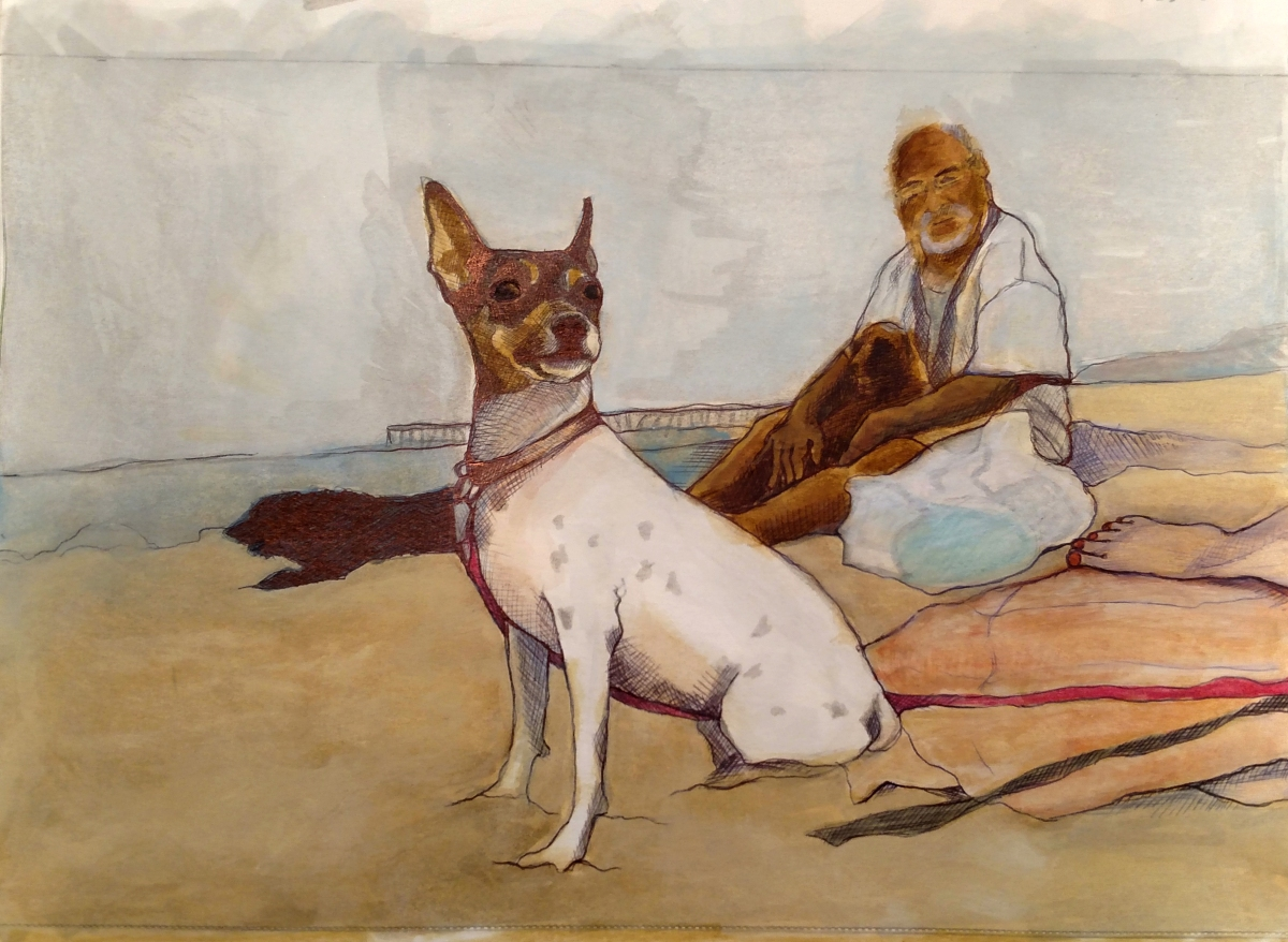 illustration of a toy fox terrier with a man holding another dog and a woman's foot peeking in on the beach