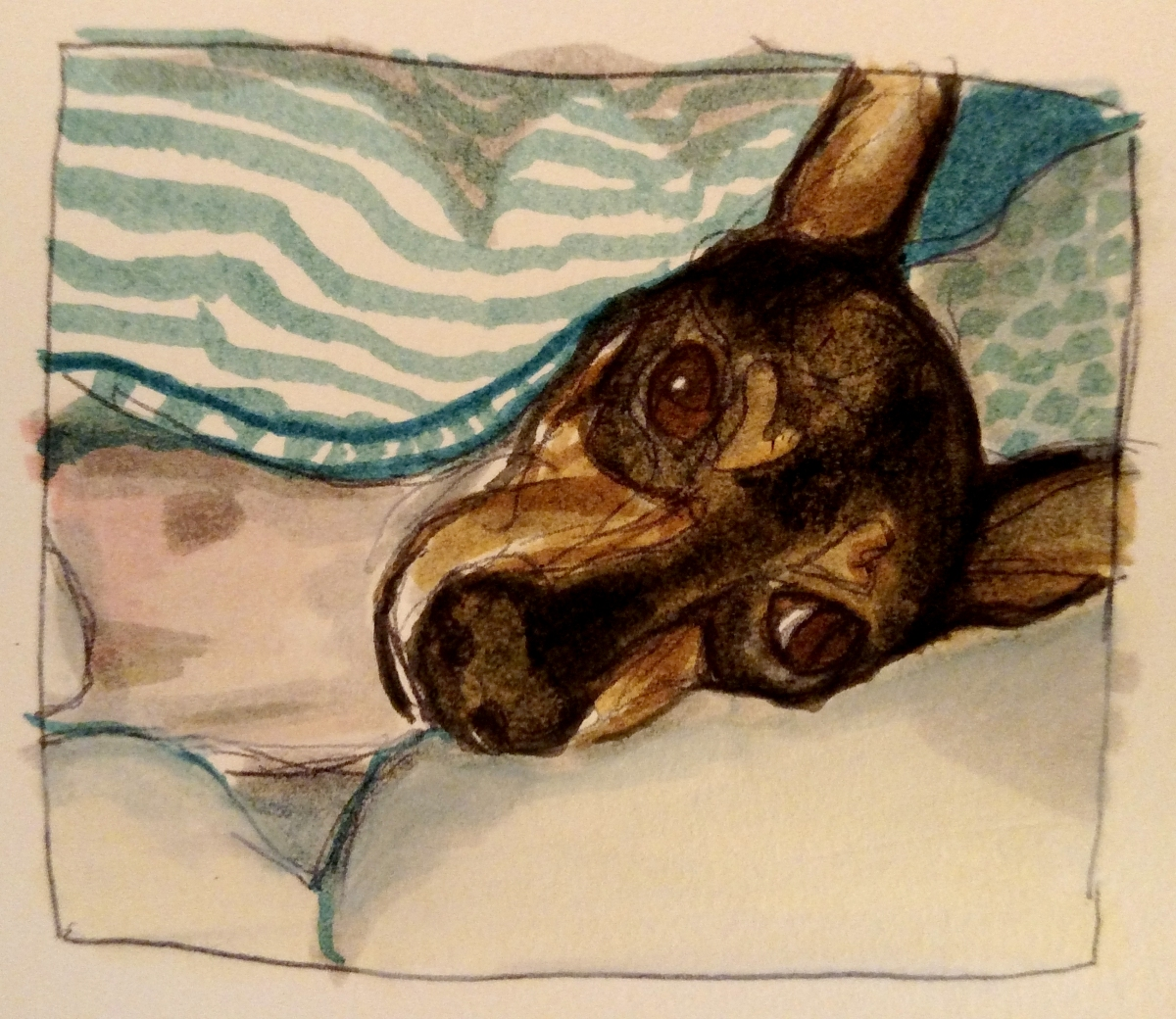 illustration of a toy fox terrier dog under a green striped blanket
