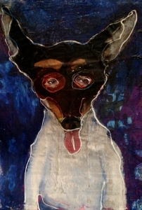 illustration of a toy fox terrier with sketchy eyes