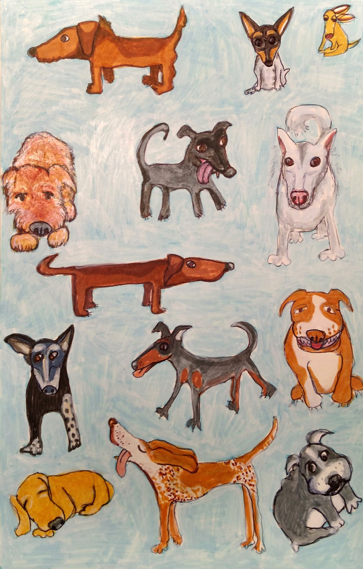 illustration of a variety of mixed breed rescue dogs