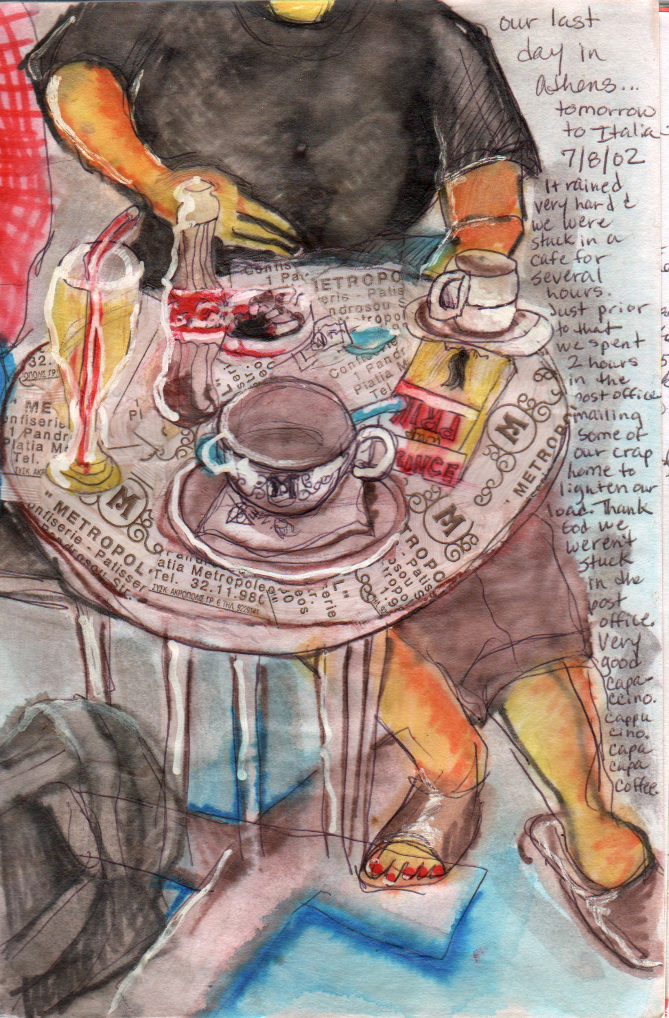 illustration of a woman at table in a cafe