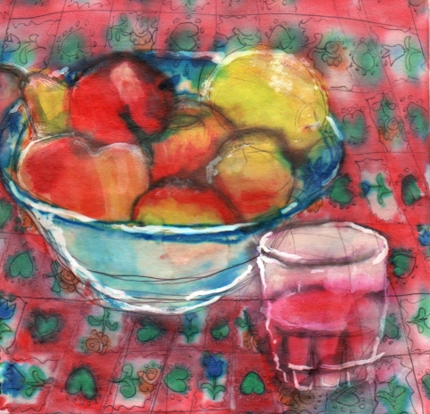 illustration of a bowl of fruit and glass of wine on a brightly colored table cloth