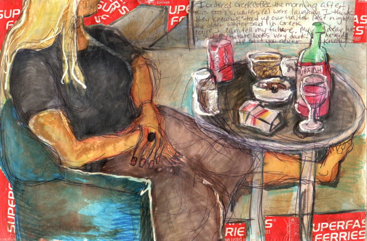 image of a woman at a table with soda, wine and cigarettes in a cafe