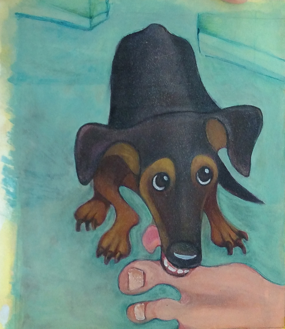illustration of a dog chewing on a toe