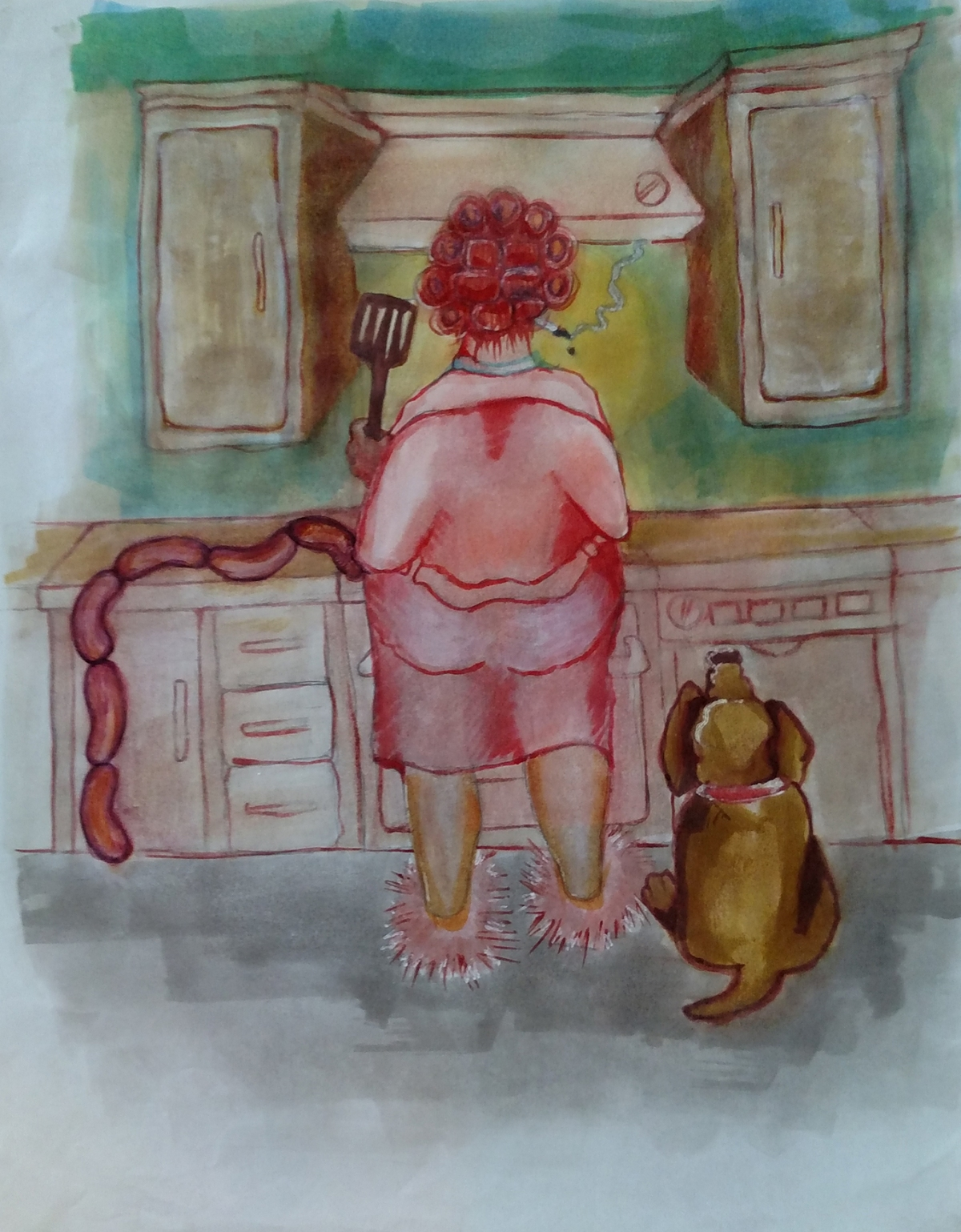 Illustration of a woman smoking and cooking sausages. A dog is standing by her side.