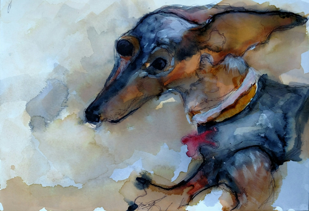 Painting of a Dachshund running with her ears flopping in the wind behind her