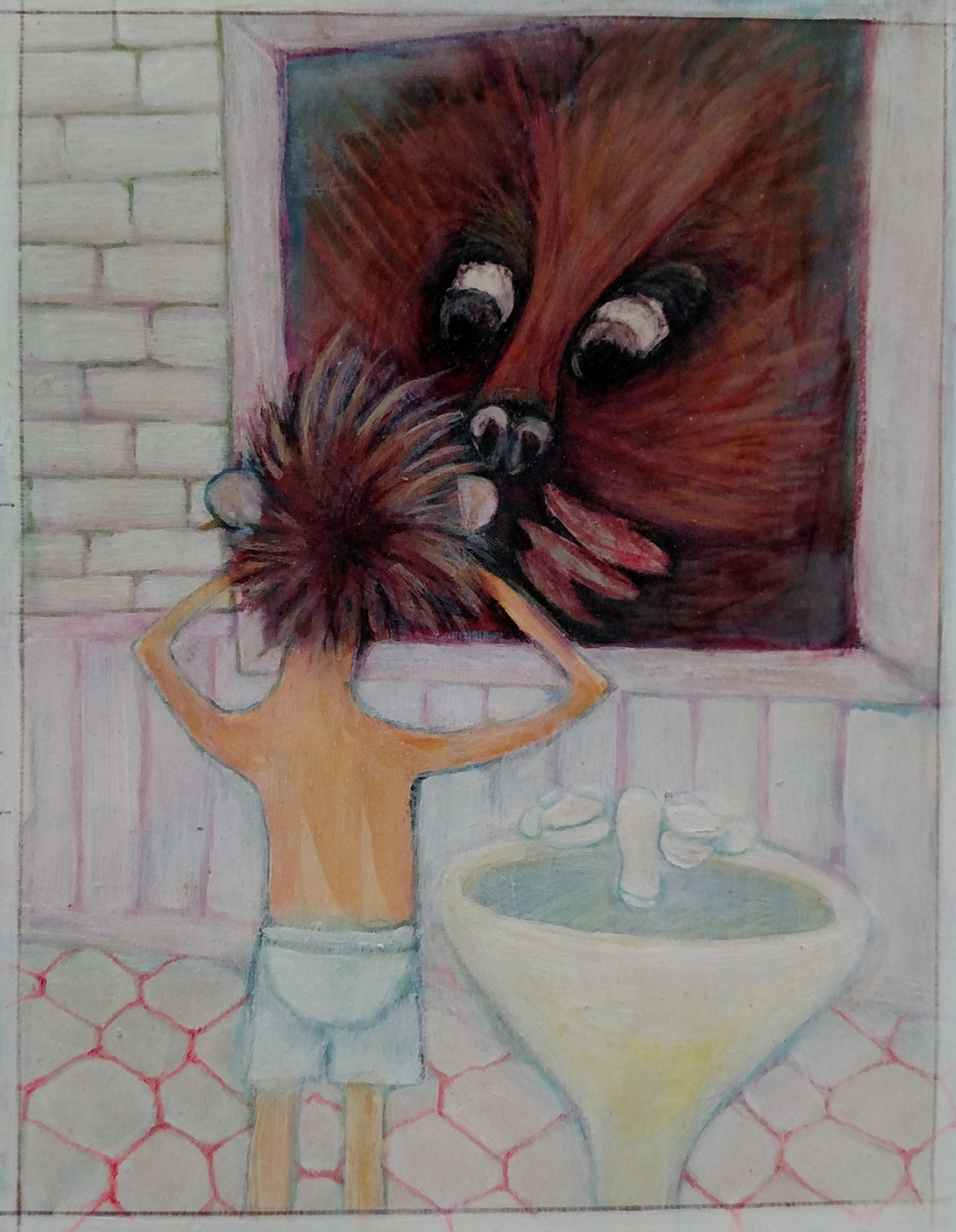 Illustration of a boy looking into a mirror. His reflection is the face of a giant porcupine..